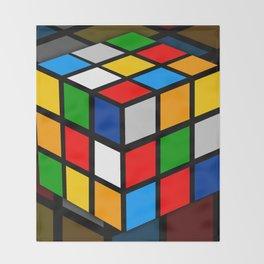 Multicolored Rubik Cube Throw Blanket