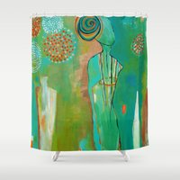 """flora bowley Shower Curtains featuring """"Wish Believe"""" Original Painting by Flora Bowley by Flora Bowley"""