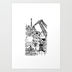Three City Silhouettes Art Print