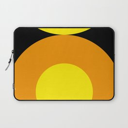 Two suns, one yellow with orange rays,the other orange with yellow rays,both floating in a black sky Laptop Sleeve