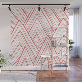 Stripe Mountains - Living Coral Wall Mural