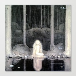 She is Looking For Her Heart By John Bauer Canvas Print