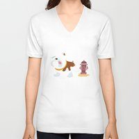 english bulldog V-neck T-shirts featuring English bulldog by Fabio Rex