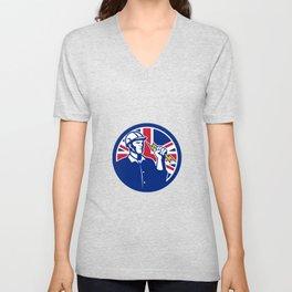 British Power Lineman Union Jack Flag Icon Unisex V-Neck