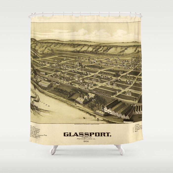 Aerial View of Glassport, Pennsylvania (1902) Shower Curtain