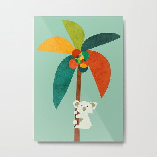 Koala on Coconut Tree Metal Print