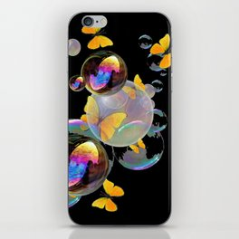 SURREAL GOLDEN YELLOW BUTTERFLIES  & SOAP BUBBLES iPhone Skin