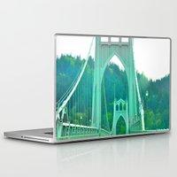 marc johns Laptop & iPad Skins featuring St. Johns Bridge Portland Oregon by Teresa Chipperfield Studios
