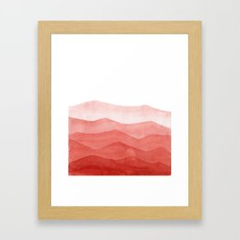 abstract terracotta watercolor waves Framed Art Print