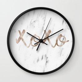 Rose gold marble XOXO Wall Clock