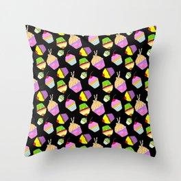 Neon Cupcakes on black Throw Pillow