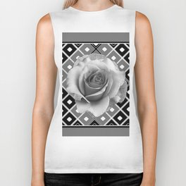 Art Deco White Rose Black-White-Grey Art Biker Tank
