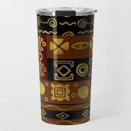 Ethnic African Golden Pattern on black and brown Travel Mug