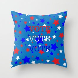 Red White and Blue Stars VOTE Throw Pillow