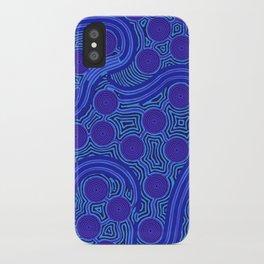 The Rivers around Us (blue) - Authentic Aboriginal Art iPhone Case