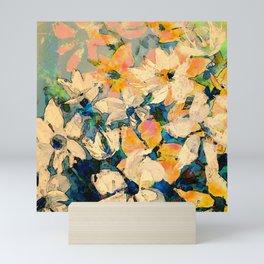 White Blue Orange Knife Painted Digital Floral Mini Art Print