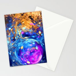 yellow and blue bubbles abstract Stationery Cards