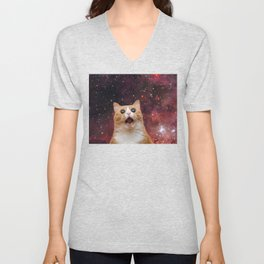 scaredy cat in space Unisex V-Neck