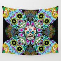 sugar skulls Wall Tapestries featuring Sugar Skulls by Spooky Dooky