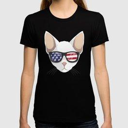 Patriotic Cornish Rex Cat Kitty Merica American Flag T-shirt