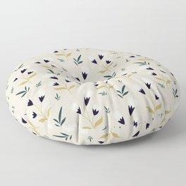 Little white flower pattern on cream background Floor Pillow