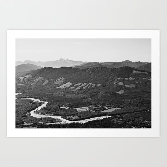 River in the Mountains B&W Art Print