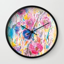 Meadow painting, floral pattern, flowers Wall Clock
