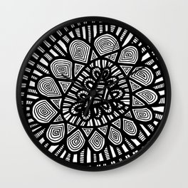 Black and White Doodle 7 Wall Clock