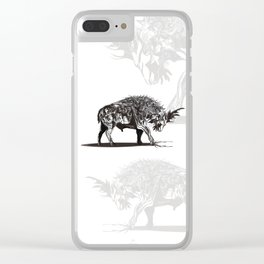 Ramming 1. Black and white background. Clear iPhone Case