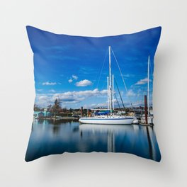 Columbia River Boat Reflection Throw Pillow