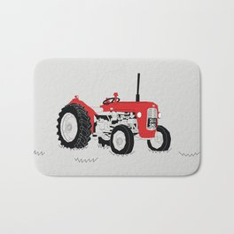 Vintage Tractor Red Bath Mat