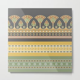 Seamless pattern egyptian ornament with lotus flower Metal Print