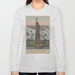 Vintage NYC & Statue of Liberty Illustration (1885) Long Sleeve T-shirt