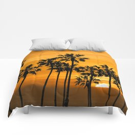 Palm Trees at Sunset by Cabrillo Beach Los Angeles California Comforters