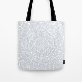 Light Gray Ethnic Eclectic Detailed Mandala Minimal Minimalistic Tote Bag