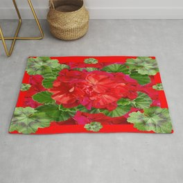 Decorative Red Flower Geraniums Green Leaves Abstract Rug