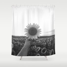 Her Sunflower (Black and White) Shower Curtain