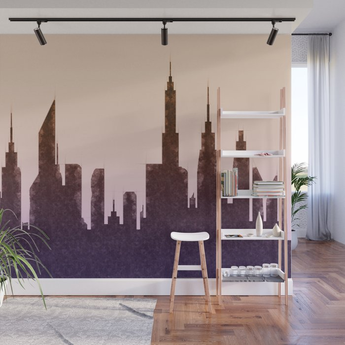Modern City Buildings And Skyscrapers Sketch New York Skyline Wall Art Poster Decor New York City Wall Mural By Radub85