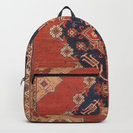 Southwest Tuscan Shapes II // 18th Century Aged Dark Blue Redish Yellow Colorful Ornate Rug Pattern Backpack