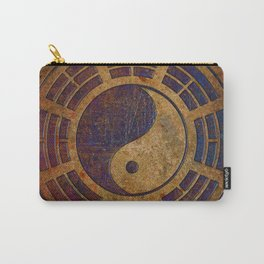 Purple Yin Yang Sign on Granite Carry-All Pouch