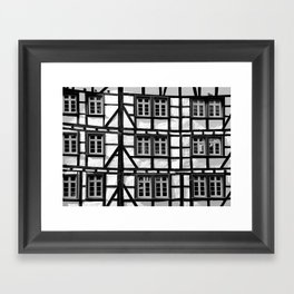 Black and white medieval street scene Framed Art Print