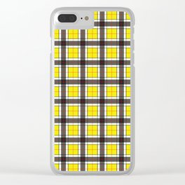 Yellow Plaid Pattern Clear iPhone Case
