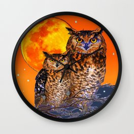 OWLS IN FULL MOONSCAPE NIGHT ORANGE ART Wall Clock