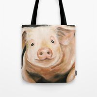 piglet Tote Bags featuring Pink Piglet by Heather Ann Orlando