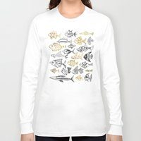 black and gold Long Sleeve T-shirts featuring Inked Fish – Black & Gold by Cat Coquillette