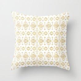 Luxury gold geometric tribal Aztec pattern Throw Pillow
