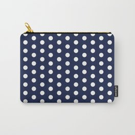 Navy Blue Polka Dots Minimal Carry-All Pouch