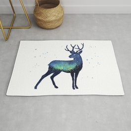 Galaxy Reindeer Silhouette with Northern Lights Rug