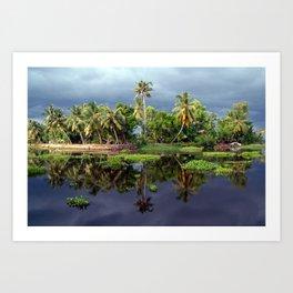Palm Trees in a Storm Kerala Art Print