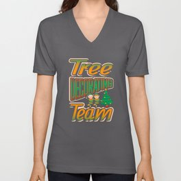 Tree Decorating Team Christmas Tree T Shirt Unisex V-Neck